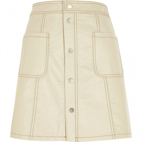River Island Cream faux leather A line mini skirt – neutral tone skirts