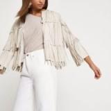 River Island Cream faux suede fringe jacket ~ fringed jackets