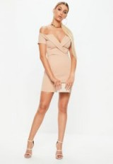 Missguided cream fold over short sleeve bardot dress | off the shoulder party dresses