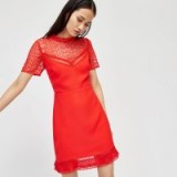 WAREHOUSE CREPE AND LACE MIX DRESS ~ red dresses