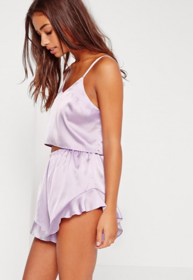 Missguided cropped cami pyjama set purple ~ silky lilac PJs