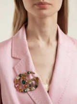 GUCCI Crystal-embellished GG brooch ~ large multi-coloured brooches