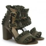 DANIEL Amack Khaki Satin Ruffle Strap Sandals – green frill trimmed shoes