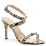 DANIEL Arsya Beige Reptile Leather Studded Sandals – strappy cross front heels