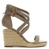 DANIEL Palomo Beige Reptile Leather Lattice Wedge Sandals – strappy cross front wedges