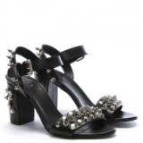 DANIEL Studsand Black Leather Block Heel Sandals – stud embellished shoes