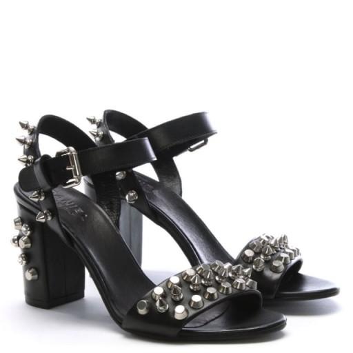 DANIEL Studsand Black Leather Block Heel Sandals – stud embellished shoes