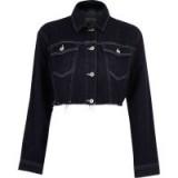 River Island Dark denim raw hem cropped jacket ~ frayed jackets