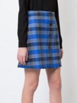 DEREK LAM 10 CROSBY A-Line Mini Skirt | blue checked skirts