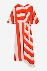Alex Jones red and white striped dress, Topshop Diagonal Stripe Midi Dress, Presenting The One Show on BBC1, 28 March 2018. Celebrity dresses | star style fashion