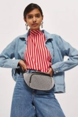 Topshop Diane Diamante Chainmail Bum Bag   silver fanny packs