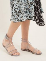 VALENTINO Dollybow bow-embellished velvet sandals ~ clear plexi flats