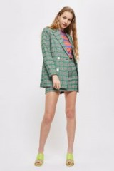 TOPSHOP Double Breasted Checked Jacket / green checks