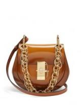CHLOÉ Drew Bijou mini brown leather cross-body bag | small luxe top handle bags