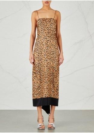 DRIES VAN NOTEN Dica leopard-print silk twill dress – draped back slip dresses - flipped
