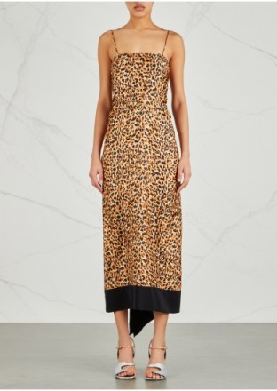 DRIES VAN NOTEN Dica leopard-print silk twill dress – draped back slip dresses