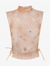 Dries Van Noten Organza Top With Crystal Embellishments ~ embellished flowers