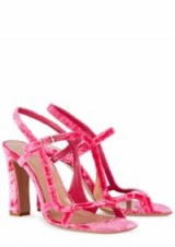 DRIES VAN NOTEN Pink velvet sandals – strappy shoes