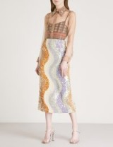 DRIES VAN NOTEN Shine sequinned silk midi skirt in lilac – wave patterned sequin skirts – luxe fashion