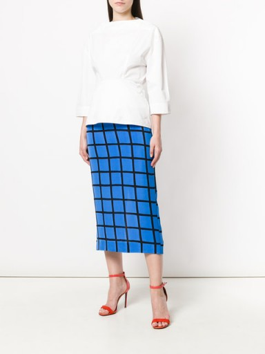 a83e29a08c DVF DIANE VON FURSTENBERG checked fitted skirt ~ blue check print pencil  skirts