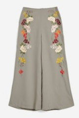 TOPSHOP Embroidered Trousers / floral wide leg pants