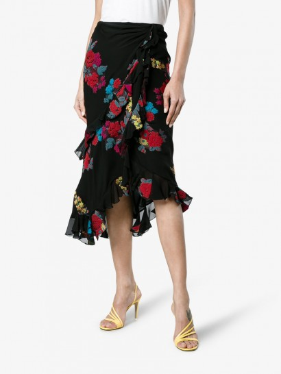 Etro Floral Embroidered Midi Wrap Asymmetric Skirt ~ black ruffle skirts