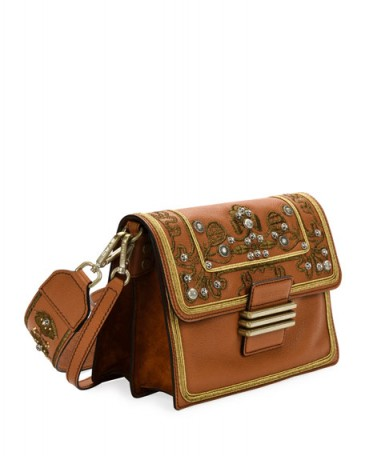 Etro Rainbow Soft Brown Leather Crossbody Bag / studded and embroidered handbags