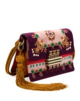Etro Small Rainbow Soft Satin Jeweled Crossbody Bag / luxury pink fabric and jewel embellished bags