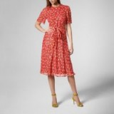 EVE CRANBERRY SILK DRESS ~ red floral dresses