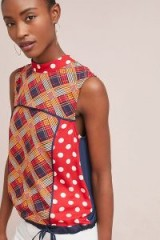 Tiny Evelyn Mock Neck Top | red mixed print sleeveless tops