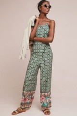 Farm Rio Honolulu Jumpsuit / strappy green printed jumpsuits