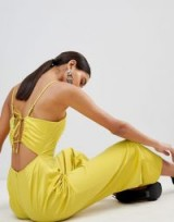 Fashion Union Cami Jumpsuit With Tie Back In Satin in Chartreuse