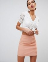 Fashion Union Tea Blouse In White Lace ~ cropped blouses