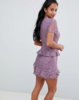 Fashion Union Petite Dress In Lilac Lace