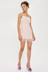 Topshop Feather Hem Slip Dress | blush-pink cami dresses