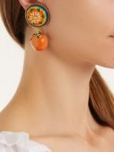 DOLCE & GABBANA Floral and orange drop clip-on earrings ~ beautiful Italian jewellery
