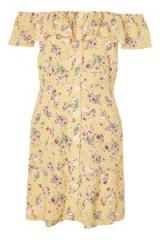TOPSHOP Floral Bardot Mini Dress / yellow flower print dresses