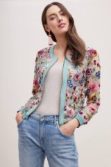 Varun Bahl Floral Embroidered Mesh Bomber Jacket | sheer jackets