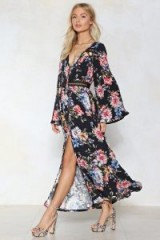 NASTY GAL Floral Ladde Trim Maxi Dress – printed wide sleeve dresses – boho style