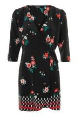 TOPSHOP Floral Mini Wrap Dress / black flower print dresses