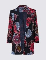 M&S COLLECTION Floral Print Ruched Blazer / bold flower prints