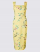 M&S COLLECTION Floral Print Square Neck Bodycon Midi Dress / yellow square neck pencil dresses / spring colours
