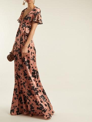 Dress Print Event Sleeved ~ Feminine Rochas Gowns Floral Ruffle Silk 16wxBHAXq
