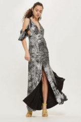 topshop Foil Cold Shoulder Maxi Dress – metallic evening dresses