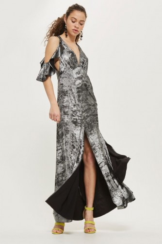 topshop Foil Cold Shoulder Maxi Dress – metallic evening dresses