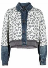 FREE PEOPLE Ditsy cropped panelled jacket ~ denim trimmed jackets