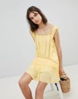 Free People Cut Work Mini Dress – yellow frill trim dresses