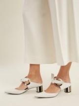 PROENZA SCHOULER Front-tie block-heel white leather mules