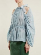 FENDI Gathered tie-neck cotton-voile top | pleated cold shoulder tops
