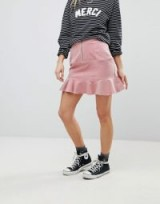 Glamorous Mini Skirt With Pephem In Corduroy – pink cord peplum hem skirts
